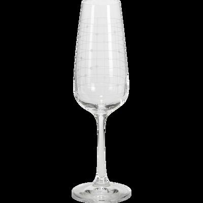 Lot de 4 flûtes à champagne en verre décoré 19cl-GISELE