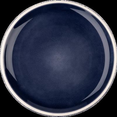 Assiette à dessert en faïence bleue D22cm-CAMELIA