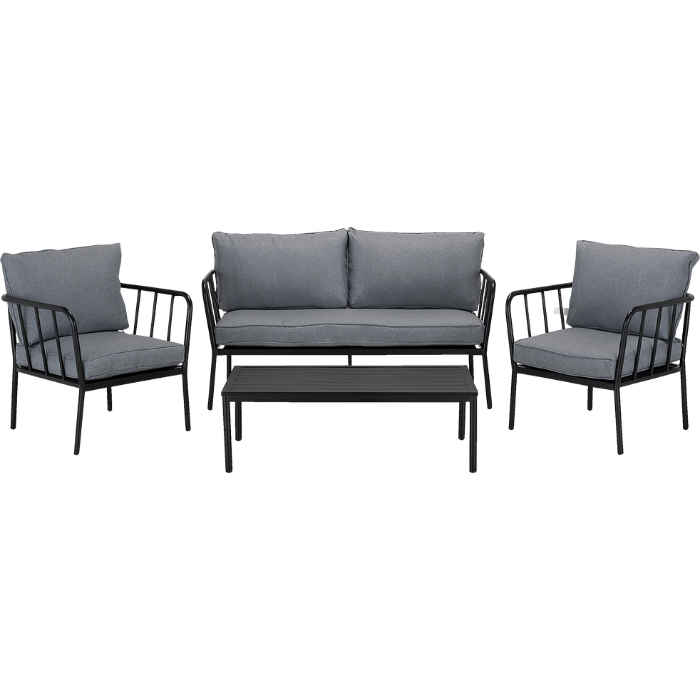 salon de jardin en aluminium gris 4 places olmeto. Black Bedroom Furniture Sets. Home Design Ideas