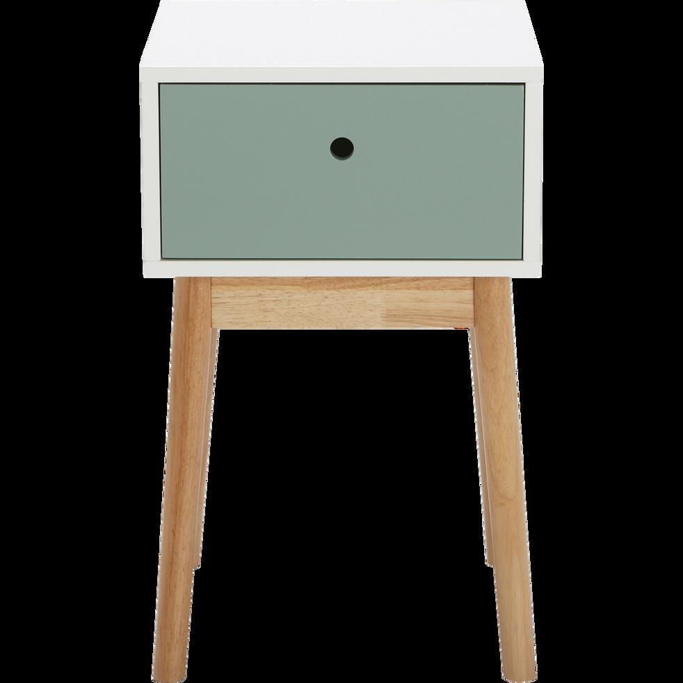Table de chevet structure en hévéa massif blanche 1 tiroir vert-GRAPHIC