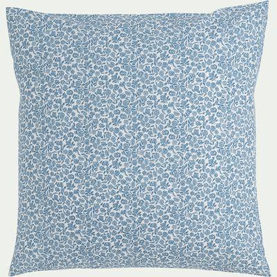 Housse de couette et 1 taie d'oreiller en coton motif floral – bleu 140x200cm-ROSAE