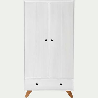 Armoire 2 portes battantes et 1 tiroir en pin massif - blanc-TIPI