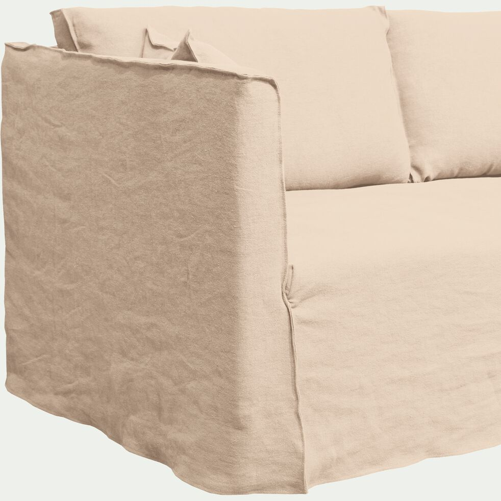 Canapé 3 places fixe en lin beige roucas-VENCE