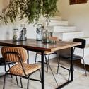 Chaise vintage matelassée en simili marron noisette-MELCHIOR
