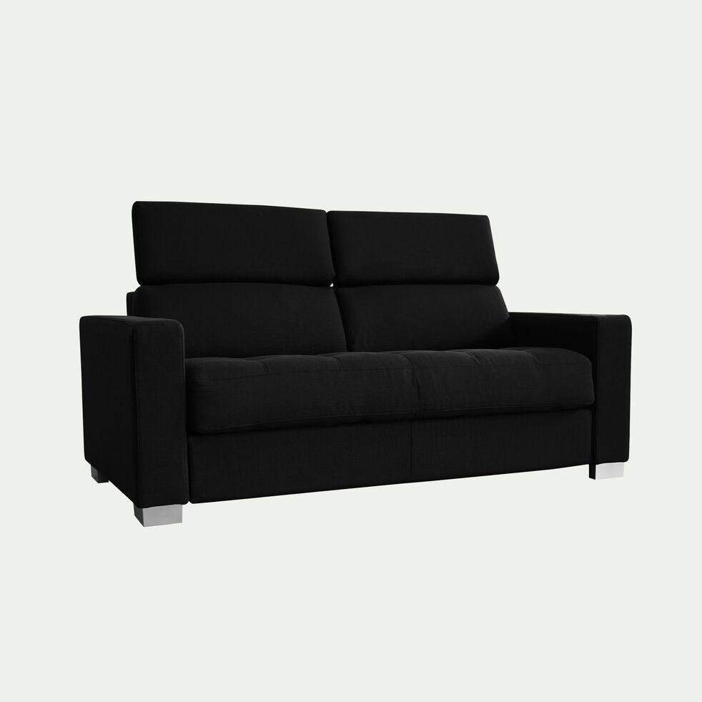 Canapé 2 places fixe en tissu avec accoudoir 15cm - gris anthracite-MAURO