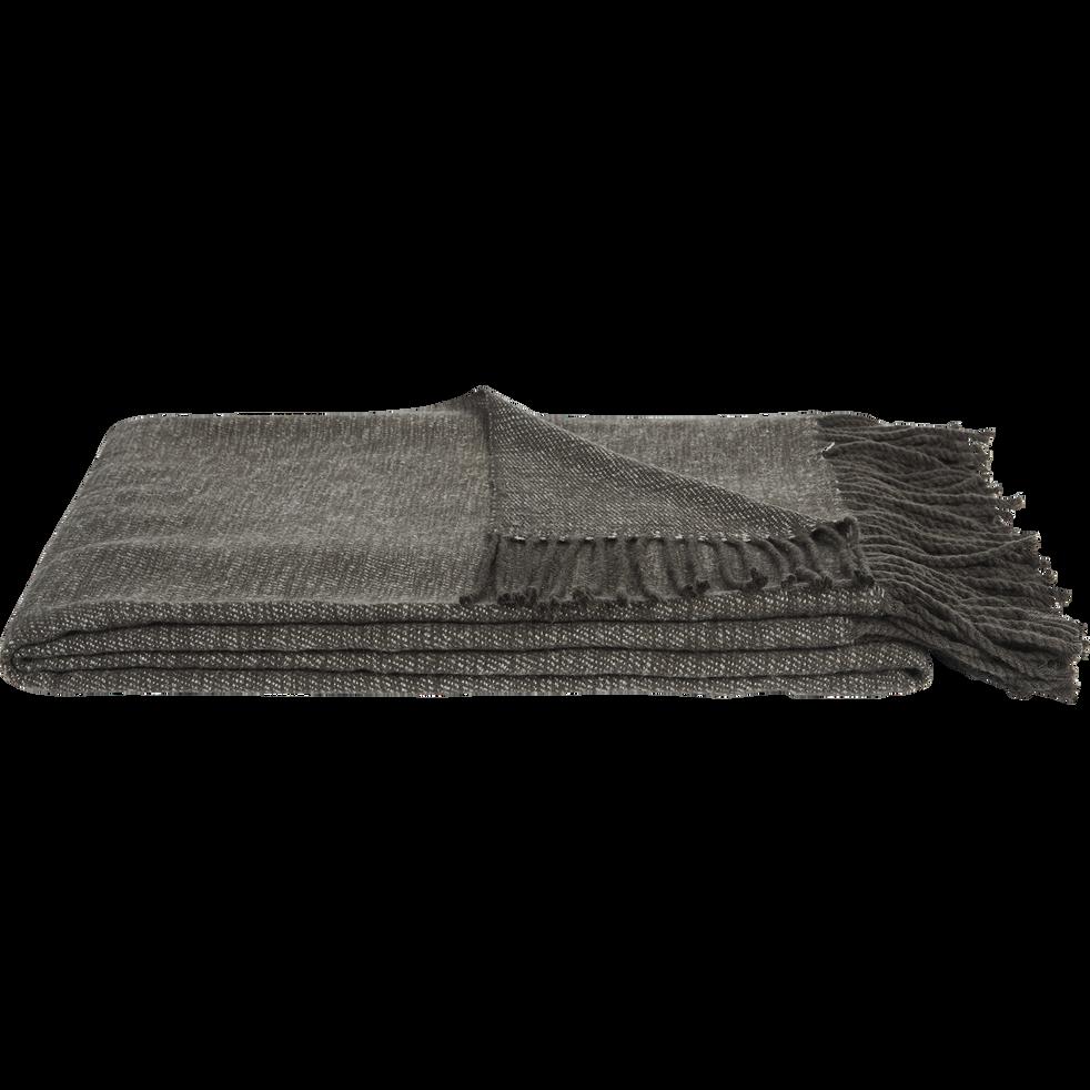 Plaid acrylique frangée gris anthracite 130x170cm-HONORE