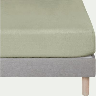 Drap housse en lin Vert olivier 140x200cm bonnet 28cm-VENCE