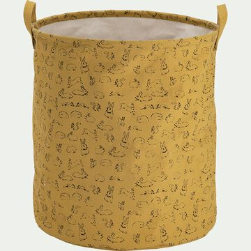 Panier de rangement avec motif - jaune argan D40xH40cm-Lony