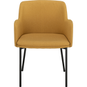 Chaise en tissu avec accoudoirs jaune argan-TINOU