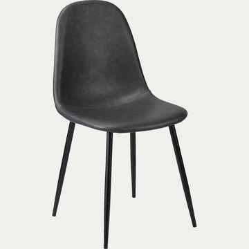 Chaise en simili et acier avec piètement noir -  noir-LOANA
