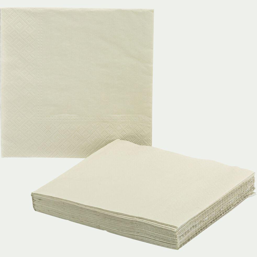 Lot de 20 serviettes en papier beige roucas 33x33cm-SAZE