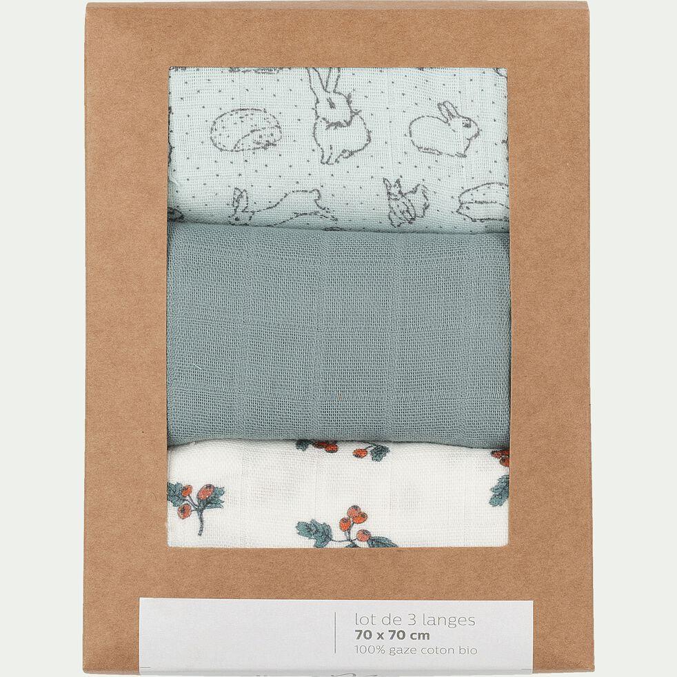 Lot de 3 langes bébé en gaze de coton 70x70cm - multicolore calaluna-Nuage