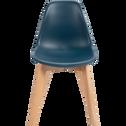 Chaise enfant assise plastique & pieds en hêtre - Bleu figuerolles-NORA