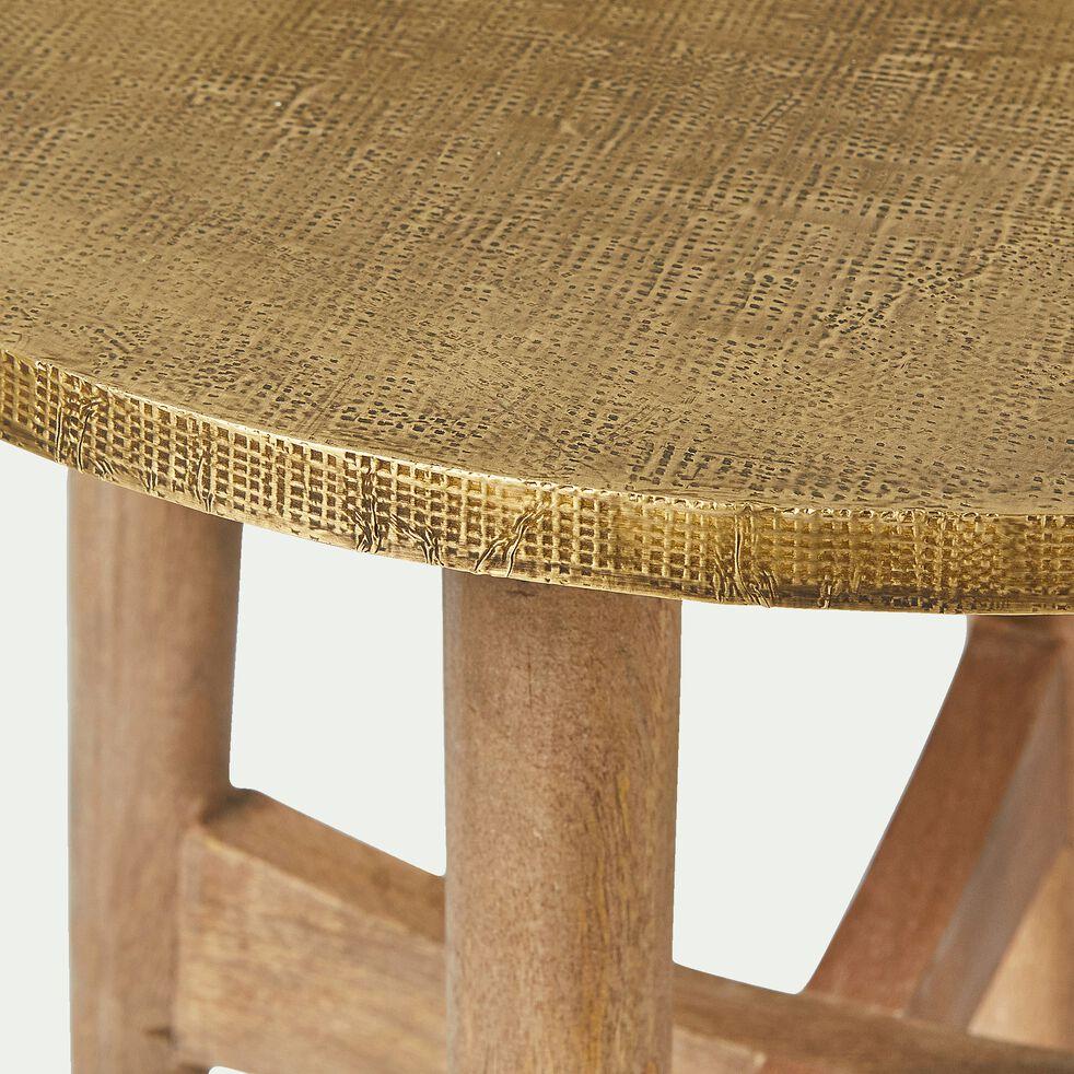 Bout de canapé rond en manguier et laiton-MARAIS