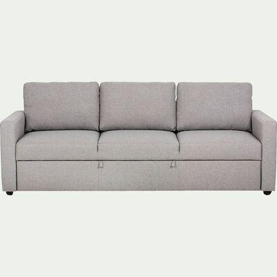 Canapé 3 places convertible en tissu gris chiné-TINO