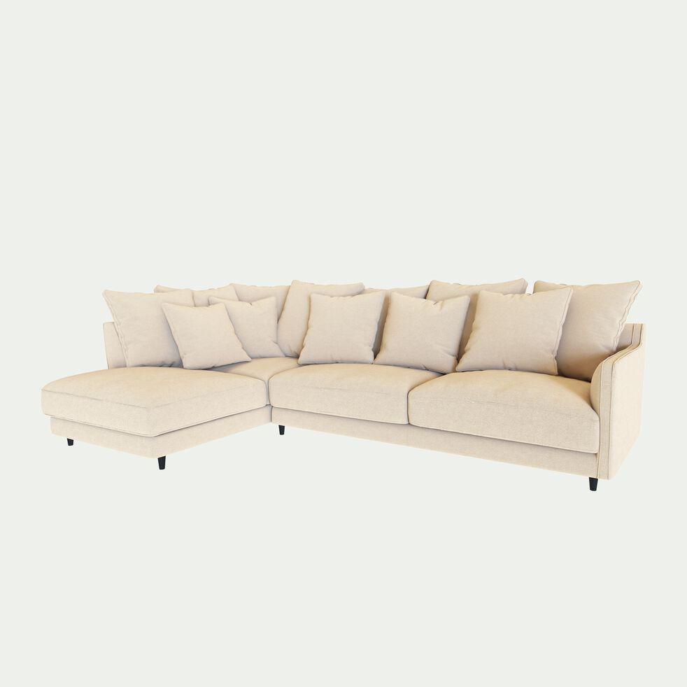 Canapé d'angle gauche fixe en tissu joint - beige roucas-LENITA