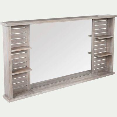 Miroir rectangulaire de salle de bains avec tablettes en épicéa 140cm-Marine