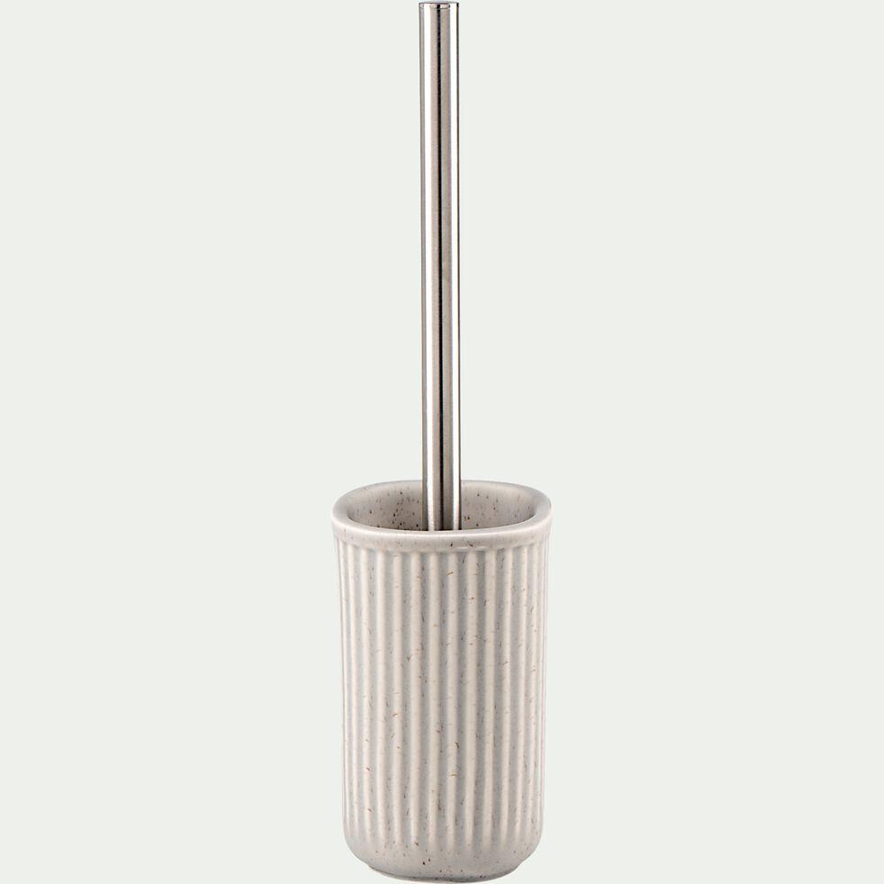 Brosse et porte-brosse wc en céramique mouchetée - beige alpilles-NANS