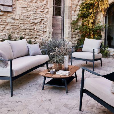 Salon de jardin en aluminium - bleu calaluna (5 places)-MARINELLA