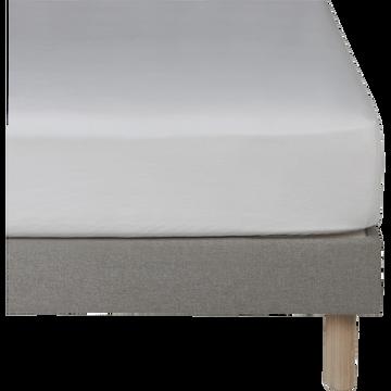 Drap housse en lin Blanc capelan 140x200cm bonnet 28cm-VENCE