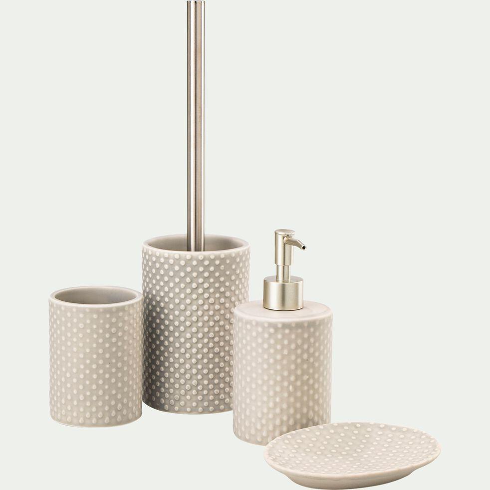 Brosse et porte-brosse wc en céramique relief - beige alpilles-NARCISSE