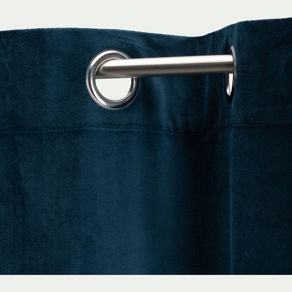 Rideau à œillets en velours de coton - bleu figuerolles 140x250cm-EDEN