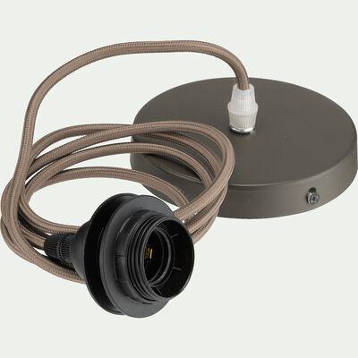 Cordon électrique en tissu E27 - brun châtaignier L150cm-ARGUIN