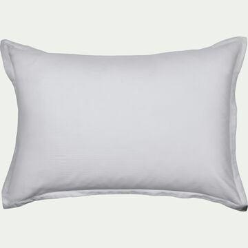 Lot de 2 taies d'oreiller rayées en satin - gris borie 50x70cm-SANTIS