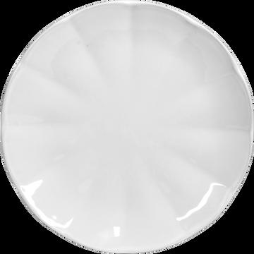 Assiette à dessert forme nénuphar en faïence blanche D21cm-VENICE