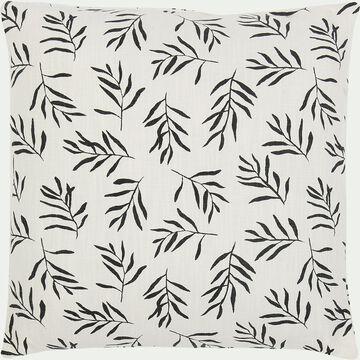 Coussin motif Aloyse en coton - noir et blanc 45x45cm-ALOYSE
