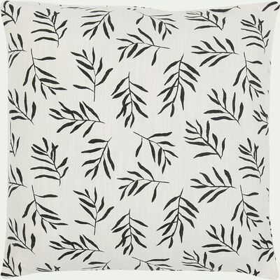 Coussin en coton motif floral - noir et blanc 45x45cm-ALOYSE