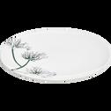 Assiette plate en grès blanc ventoux décorée D27cm-AGAPANTHE