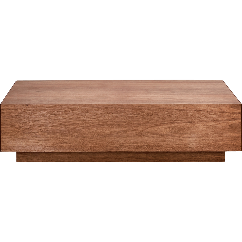 Table basse rectangulaire plaquée noyer 2 tiroirs-OUSO