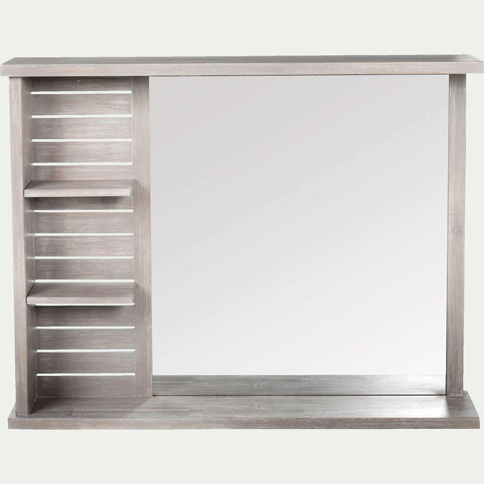 Miroir rectangulaire de salle de bains avec tablettes en épicéa 90cm-Marine