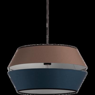 Abat-jour suspension en tissu brun et bleu D40cm-CARA