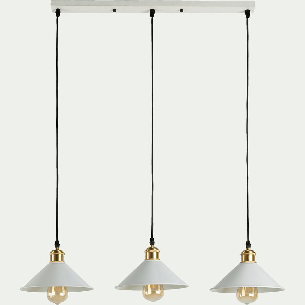 Suspension en métal 3 lampes L80xH100cm - blanc-GIULIAN