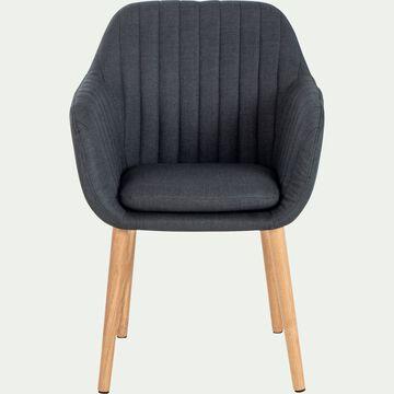 Chaise capitonnée en tissu avec accoudoirs - gris anthracite-SHELL