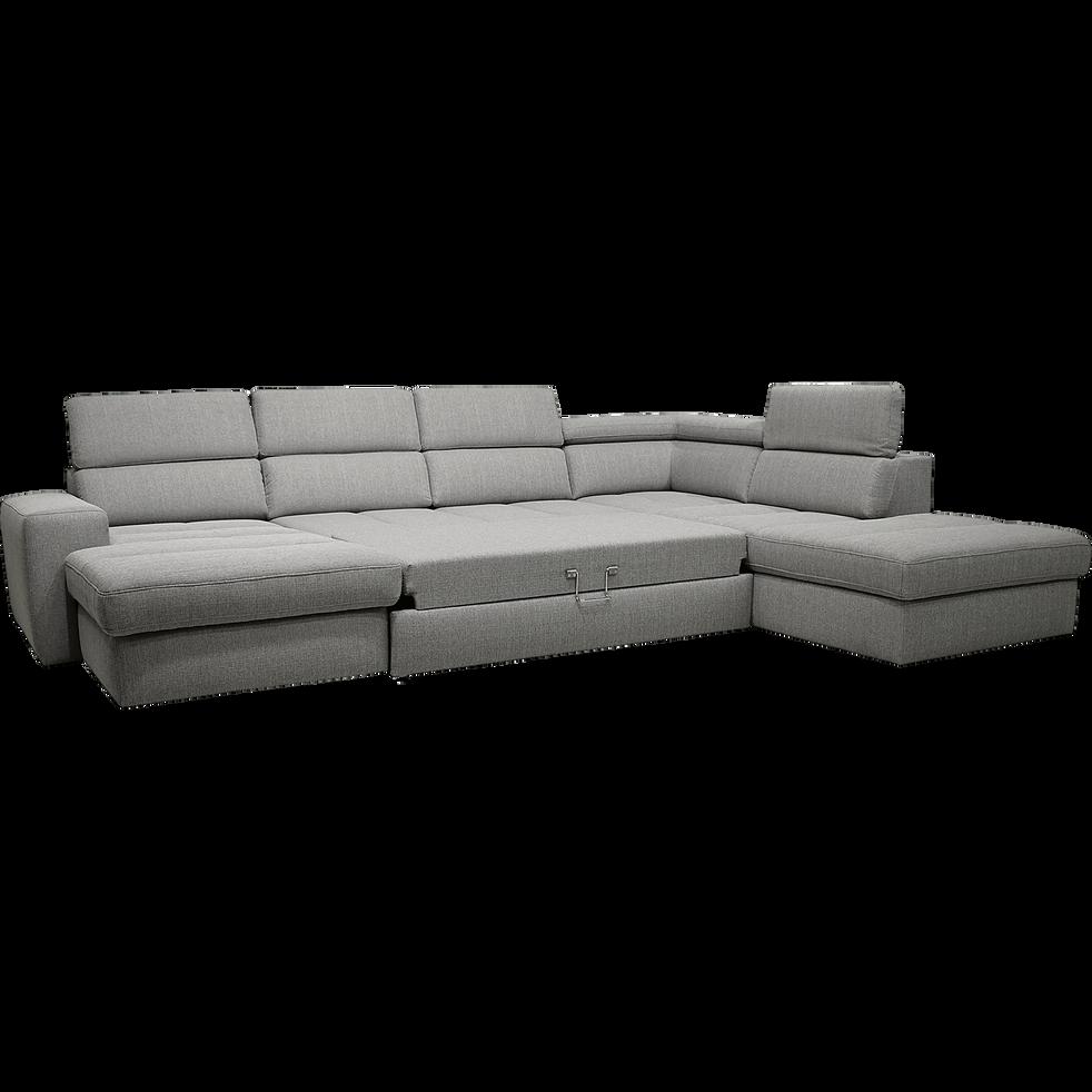 prix compétitif 0a87a 736a9 TONIN - Canapé d'angle en U convertible en tissu gris clair avec méridienne  à gauche