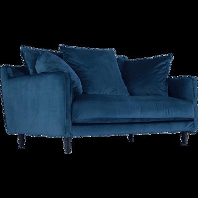 Canapé 2 places fixe en velours bleu figuerolles-LENITA