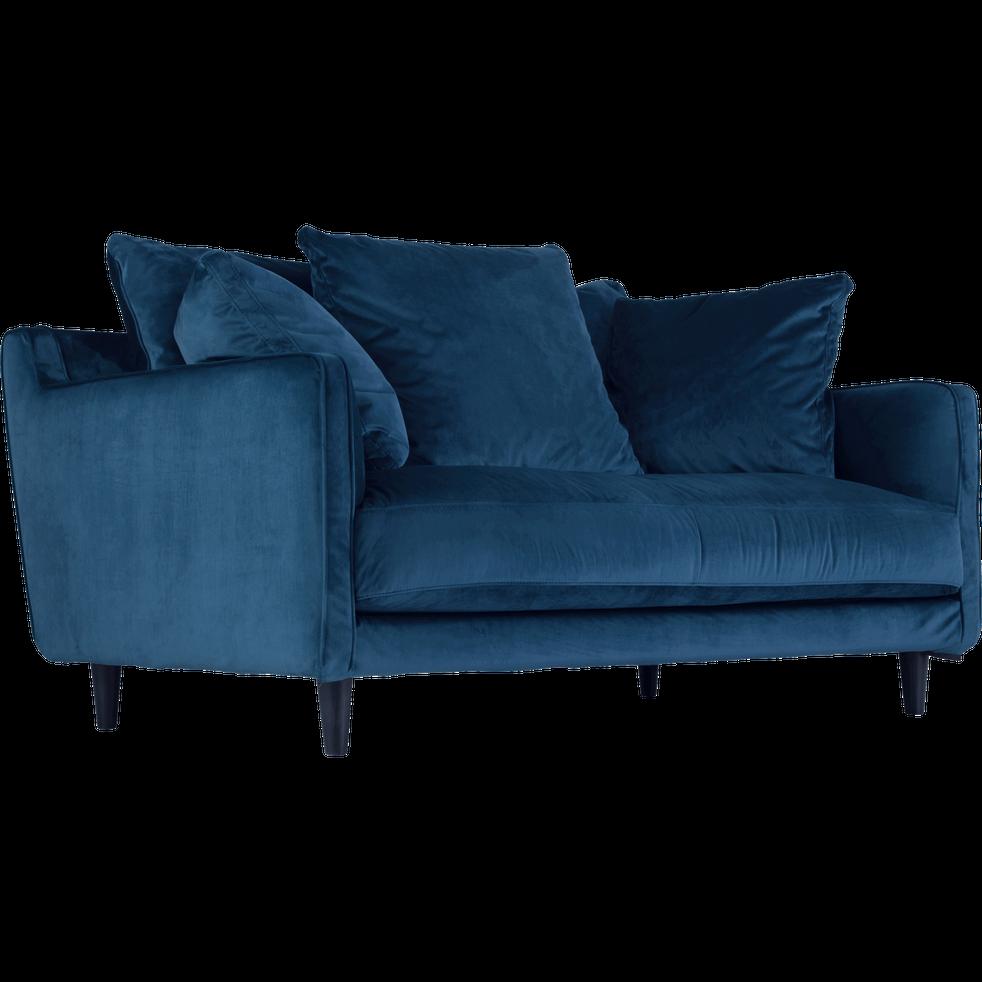 canap 2 places fixe en velours bleu figuerolles lenita. Black Bedroom Furniture Sets. Home Design Ideas