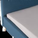 Lit 2 places avec structure et tête de lit en tissu Bleu - 140x200 cm-AGNES