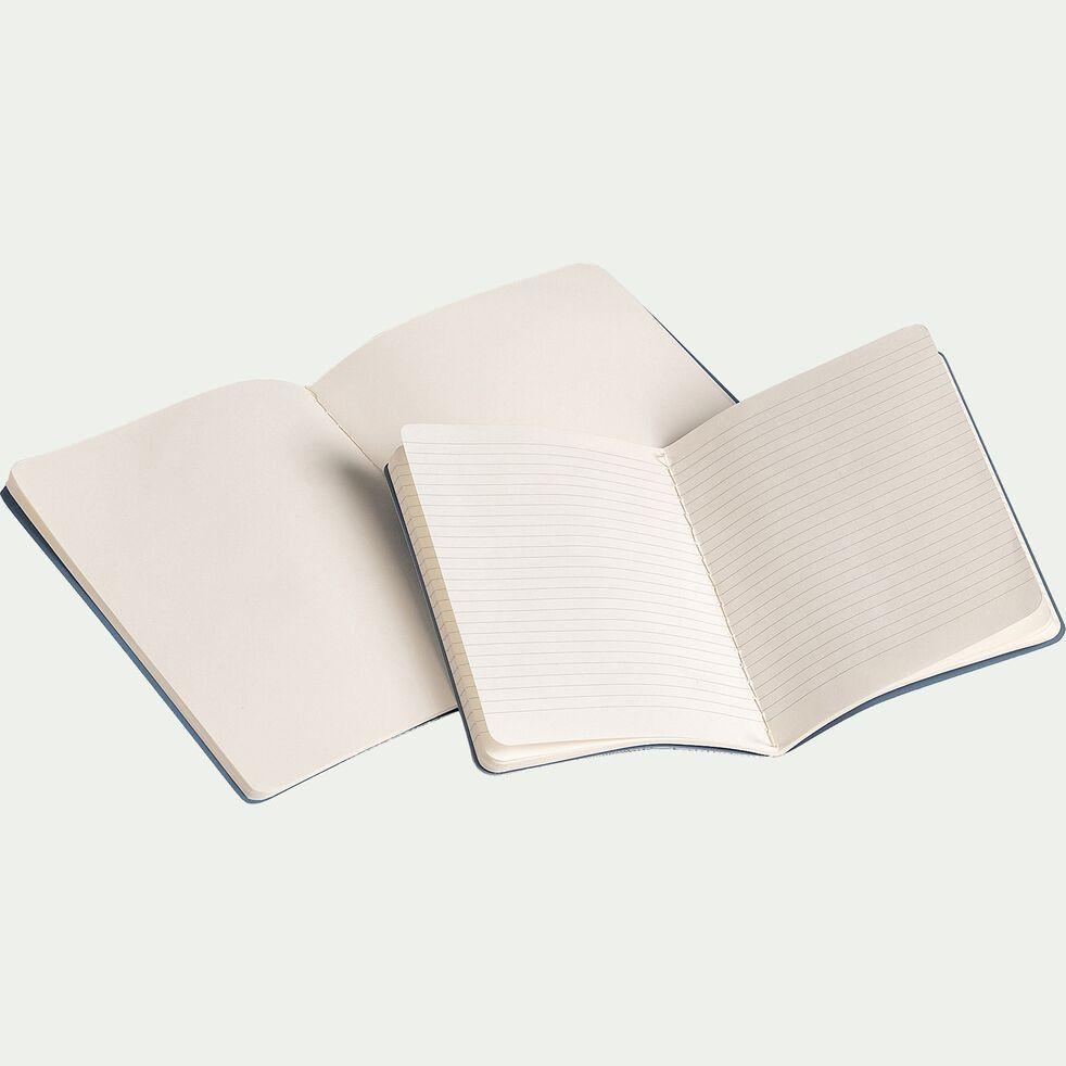 Lot de 2 carnets - bleu et blanc-ROSAE