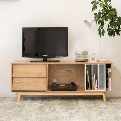 Meuble télé plaqué chêne avec niche amovible-ALETE