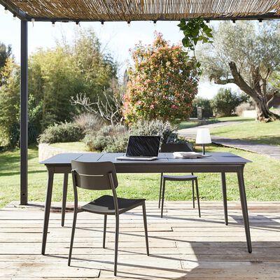 Table de jardin extensible en aluminium - noir (4 à 8 places)-SOLENA