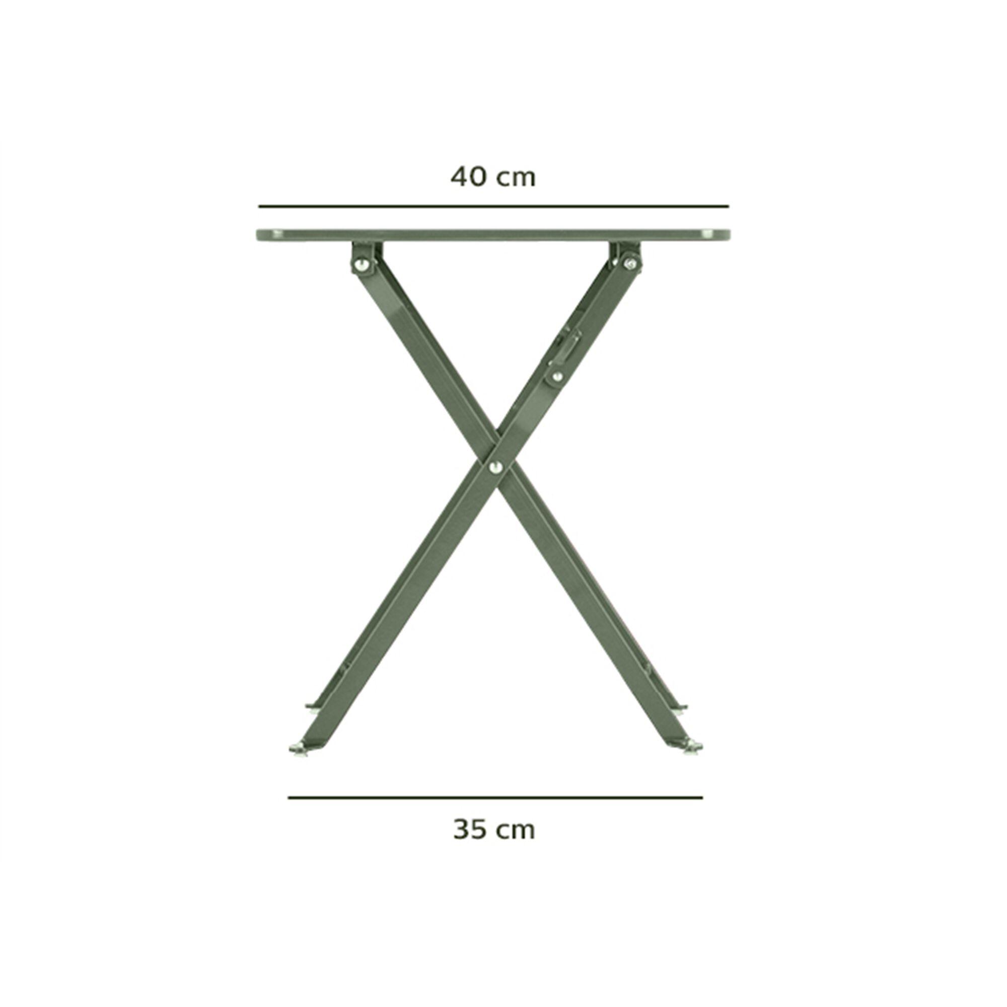 Table basse de jardin pliante en acier - vert olivier-CERVIONE
