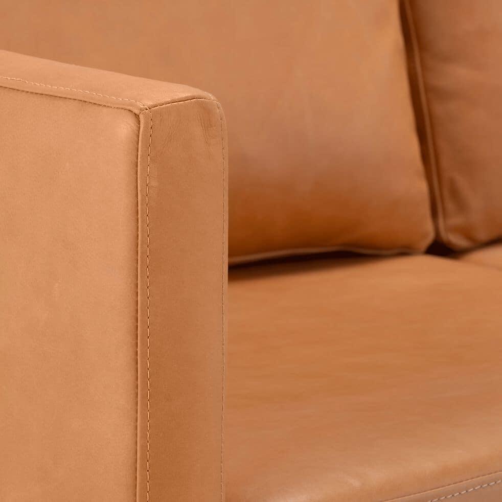 Canapé 3 places fixe cuir aniline - beige esterel-PALMIE