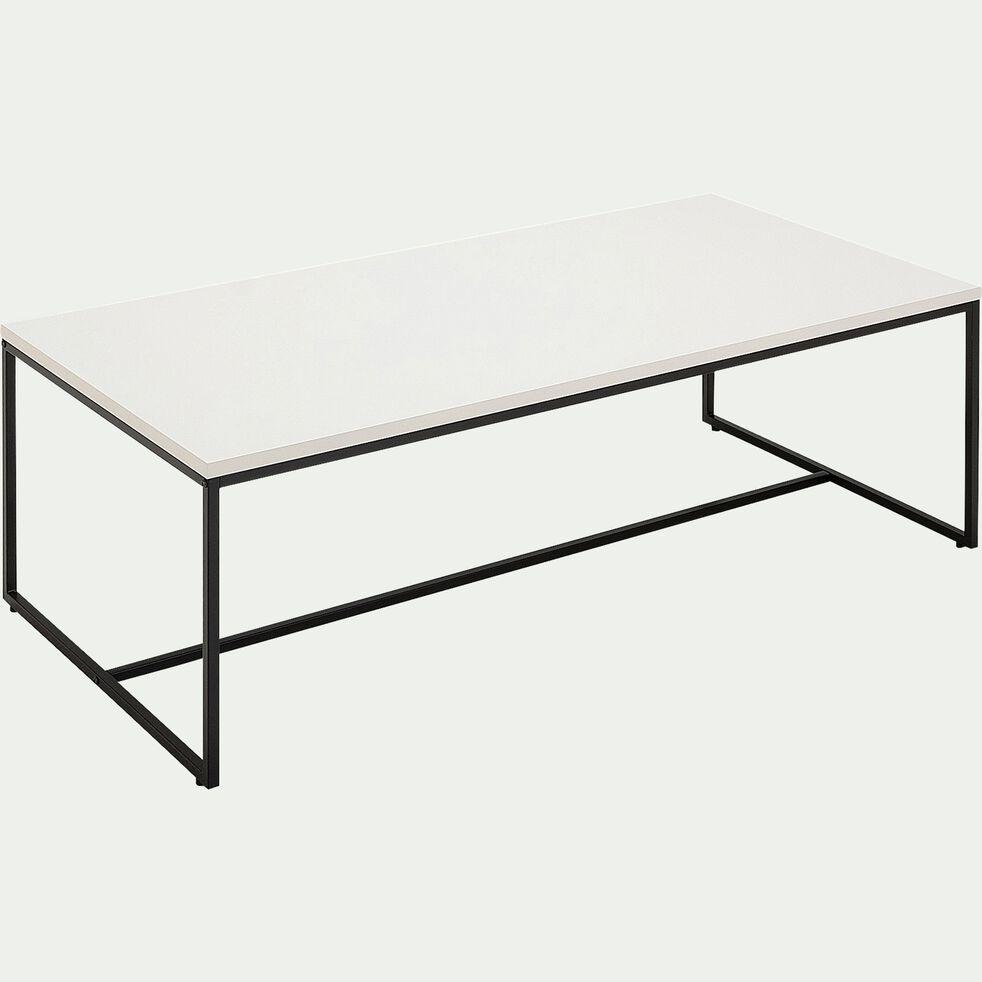 Table basse rectangulaire en bois et acier - blanc laqué-LEONORE