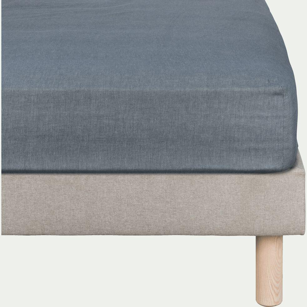 Drap housse en coton chambray - gris anthracite 140x200cm B27cm-FRIOUL