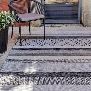 Tapis intérieur et extérieur à motifs - gris 200x290cm-EUPHORIE