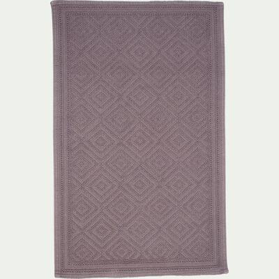 Tapis de bain surpiquage losanges en coton - gris restanque 60x100cm-SADOU